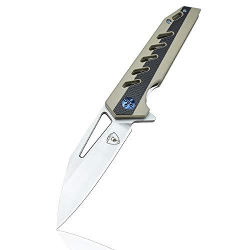 AUBEY D2 Stahl Messer Einhand Klappmesser Angelmesser extra Scharf, Einhandmesser mit Flipper, Super Leicht Taschenmesser mit G10 Griff, Outdoor Survival-Messer mit Gürtelclip (Grau)