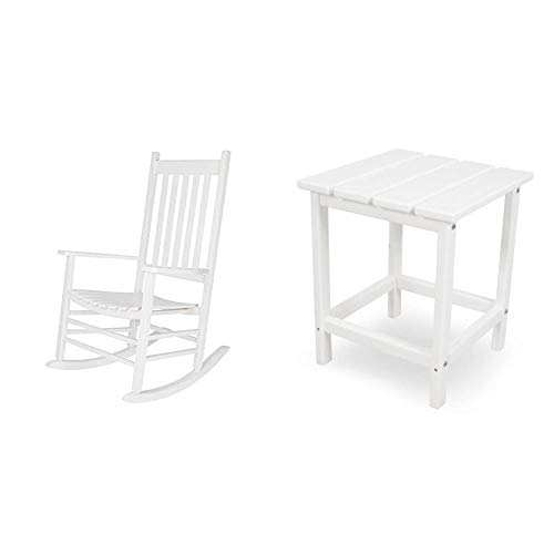 Shine Company Inc. 4332WT Vermont Porch Rocker, White & POLYWOOD ECT18WH Long Island 18' Side Table, White