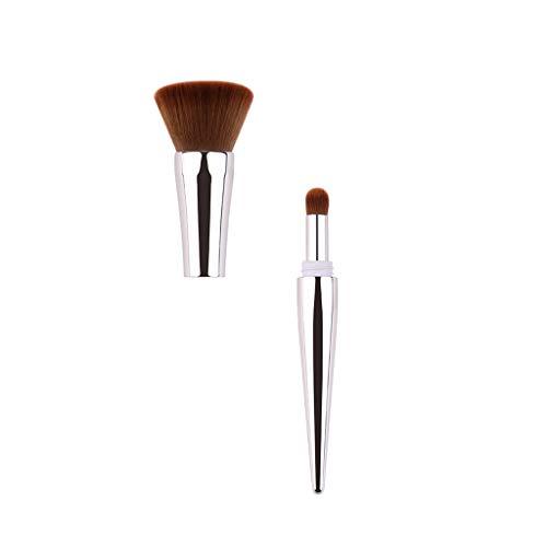Junjie Femmes Cosmétique Dames De Mode ZOREYA Multifonctionnel Maquillage Brosse Deux en Un Nylon Placage en Plastique Poignée Santé Beauté Fondation Brosse