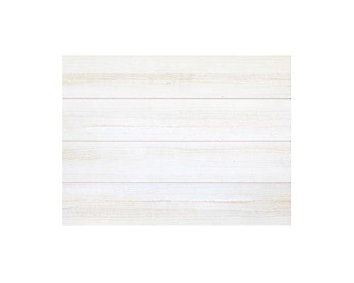 Decowood - Cabecero para Cama Dormitorio, Lamas Horizontales Corte Recto, Madera de Pino Gallego Decapado Blanco - 105 x 80 cm