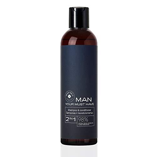 Champú/acondicionador 2 en 1 orgánico para hombres a base de 98% de ingredientes naturales - Cuidado natural del cabello para el cuero cabelludo y la caspa - 250 ml