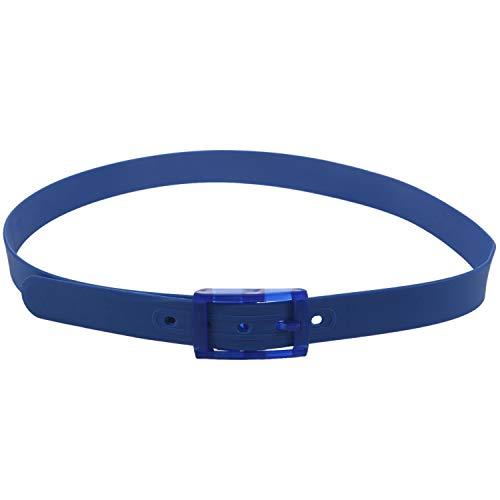 Gaetooely CinturóN de Silicona para Hombres Hebilla de PláStico de Goma Estilo de Cuero Liso Ajustable-Azul Marino