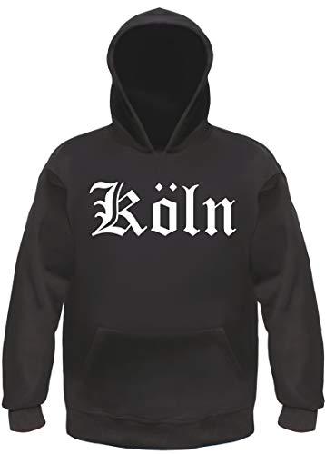 Köln Kapuzensweatshirt - Altdeutsch - Bedruckt - Hoodie Kapuzenpullover XL Schwarz