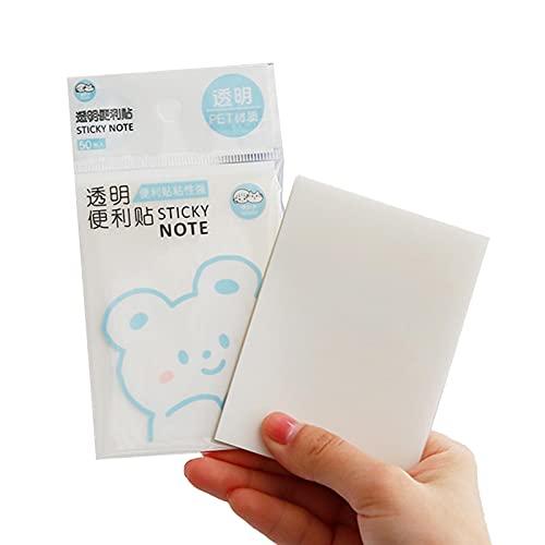 Vecksoy 50 hojas de notas adhesivas, transparentes impermeables y adhesivas, para listas de tareas pendientes, recordatorios y estudios