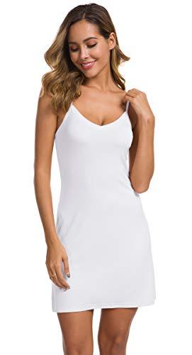 AUHEGN Women's Full Slips for Under Dresses Sleeveless Cami Slip Dress V Neck Nightgown(White, Small)