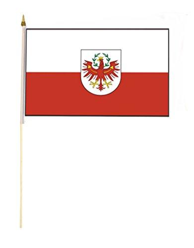 Sportfanshop24 Stockflagge/Stockfahne Tirol mit Wappen Flagge/Fahne ca. 30 x 45 cm mit ca. 60cm Stab/Stock