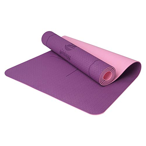 SaphiRose Non Slip Yoga Mat with Alignment Lines TPE Home Fitness Eco Friendly Exercise & Workout Mat with Carrying Strap Types of Yoga Purple+Purple