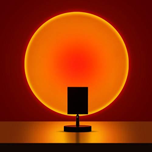 ORPERSIST Lámpara Proyección Sunset, Lámpara Proyección LED, 180 ° Rotation, Carga USB, Rainbow Sunset Projection Foor Lamp, Pequeño Lámpara de Pie para Salón Dormitorio Oficina,Sunset Red