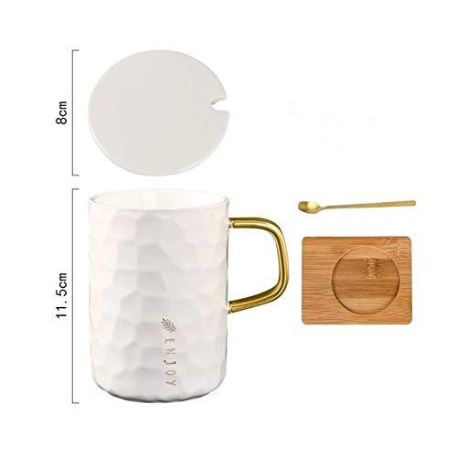 WLLL Cappuccino Cup, porselein espresso kopjes met schoteltjes - 400 ml (Color : White, Size : 12CM*8CM)
