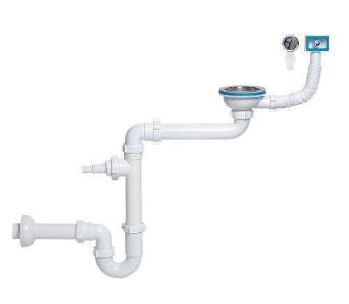 Sifon gootsteen 1 bekken, diameter 115 mm, extra plat met overloop rechthoekig/rond en uitgang voor wasmachine/vaatwasser