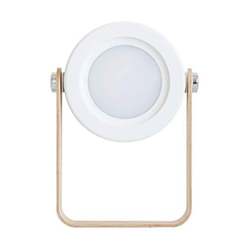 Monllack Lámpara de Lectura de luz Nocturna de Carga Creativa Lámpara de Linterna portátil Lámpara de Mesa LED Plegable telescópica con Mango de Madera Blanco (Blanco)