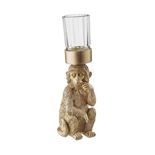 BUTLERS Golden Nature Kerzenglas Affe 28,5 cm in Gold - Kerzenhalter Tischdeko und Accessoires - Home Decor Gold