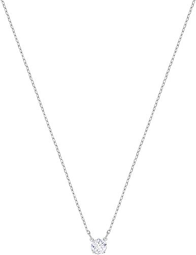 Swarovskis Attract Circular Pendant Necklace with Clear Crystal and Rhodium Plated Chain, a Part of the Attract Collection