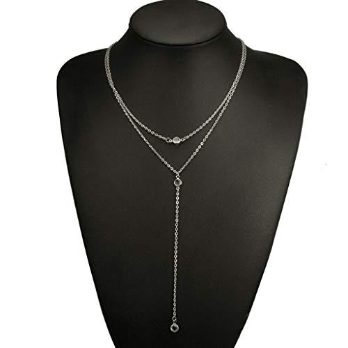 Sweet Collar Y Multicapa, Gargantilla De Capas, Collar para Mujeres Y Niñas, Collares Pendiente,Plata