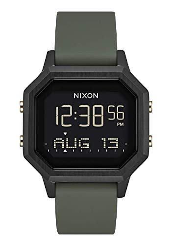NIXON Siren SS A1211 - Black/Fatigue - 100m Water Resistant Women's Digital Sport Watch (36mm Watch Face, 18mm-16mm Silicone Band)