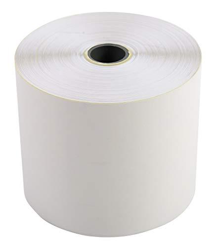 Exacompta 40354E Rolle 2-lagig selbstdurchschreibendes Papier (für Kassen und Tischrechner, 57g, Breite: 57mm, Durchmesser Kern 12mm, Länge: 25m) 10 Stück, weiß/gelb