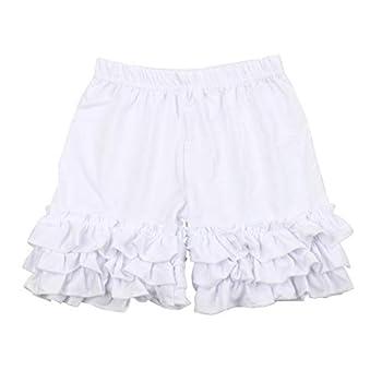 Slowera Baby Girls Cotton Icing Ruffles Shorts Pants  White S  2-3 Years