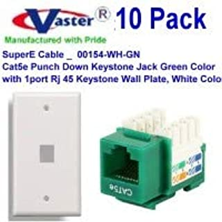 Amazon Com Vaster Sku 00154 Wh Pl 10 10 Pack Cat5e Punch Down Keystone Jack Green Color With 1 Hole Rj 45 Keystone Wall Plate White Color Computers Accessories
