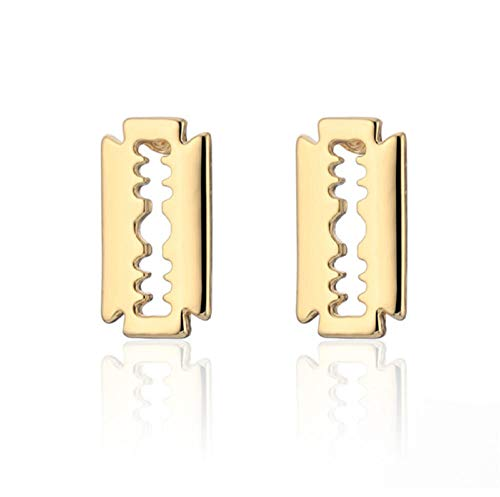 Pendiente Pendientes únicos de oro de plata de la hoja de afeitar para hombres Mujeres Pendiente de acero inoxidable de joyería femenina simple