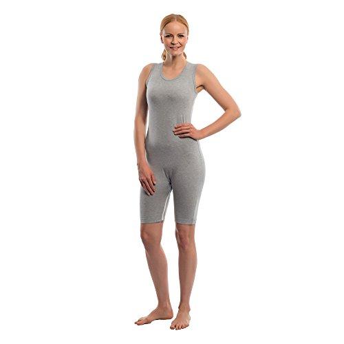 Suprima Pflegebody ohne Arm Bein-Reißverschluss grau L