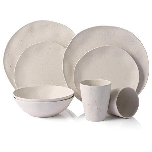 Vajilla europea 8 piezas para 2 personasJuego de vajilla para el hogar de fibra de bambú Platos simples ensalada Plato de sopa Plato de bistec Plato occidental regalos, 8 piezas para 2 personas
