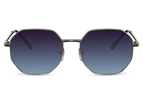 Cheapass Gafas de sol Festival octogonal de estilo vintage de metal plateado con lentes degradados azules para hombre y mujer con protección UV400