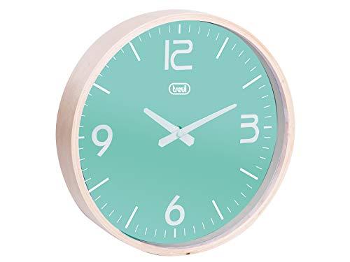 Trevi OM 3311 L Mechanical Wall Clock Círculo Turquesa - Reloj de Pared (AA, Turquesa, Madera, 25 cm)