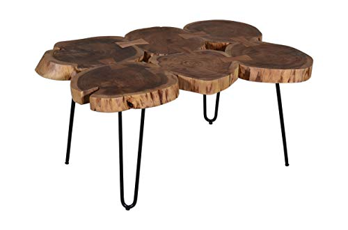 SAM Beistelltisch Logi, Couchtisch aus 6 Baumscheiben, Akazienholz massiv, nussbaumfarben, Sofatisch mit Metall-Gestell schwarz, 104 x 65 x 45 cm
