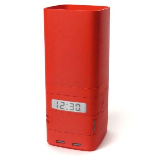 Lexon Schreibtischset mit Uhr, USB-Hub, Klebeband MULTITOTEM red