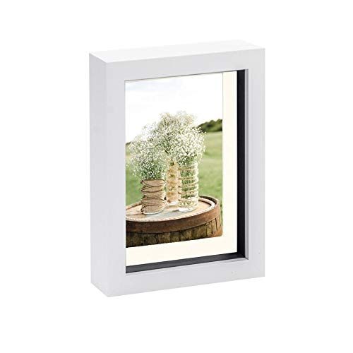 Nicola Spring White 5 x 7 3D Shadow Box Photo Frame - Craft Display Picture Frame with 3.5 x 5 Mount - Glass Aperture - White/Ivory