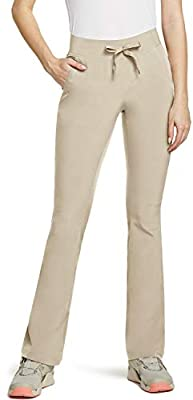 CQR Women's Hiking Pants, Lightweight UPF 50+ Sun Protective Outdoor Pants, Quick Dry Stretch Camping Work Pant, Boot Cut(wxp110) - Beige, 8_Short