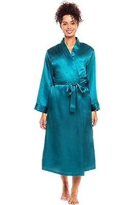 Alexander Del Rossa Women's Lightweight Satin Robe, Long Kimono, Large Ocean Depth (A0755ODPLG) from Alexander Del Rossa