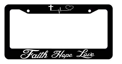 Superlicenseframe Kfz-Kennzeichenabdeckung, Rahmen für Nummernschilder, Rahmen für alle gängigen US-Kennzeichen, Schrauben im Lieferumfang enthalten, Faith Hope Love