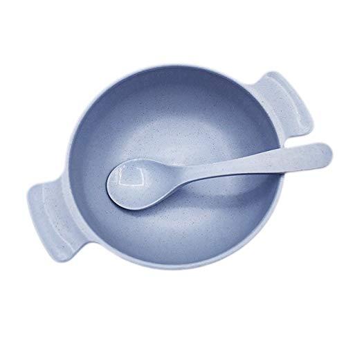 SHIN Juego de vajilla de alimentación para bebés de 2 uds, Plato para bebés de Paja de Trigo ecológico, Plato para niños, vajilla para niños, Cuenco de Entrenamiento Anti-Caliente + Cuchara
