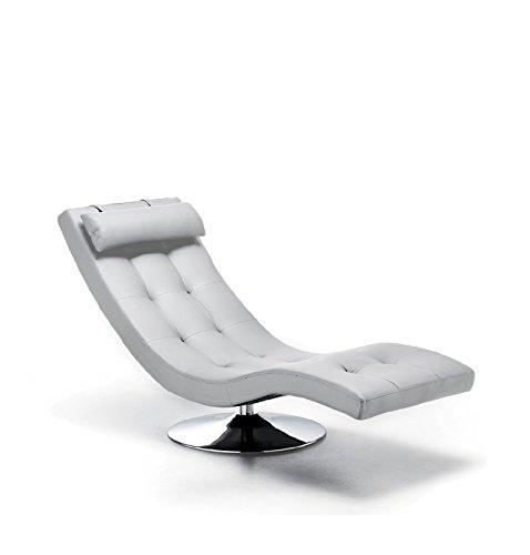 Klipick Poltrona Chaise Lounge Base cromata, Stefy Cover in Ecopelle Bianco, Dimensioni: 180 x 60 x 90.