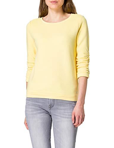 TOM TAILOR Denim Damen 1021114 Structure Sweatshirt, Honey Popcorn, M