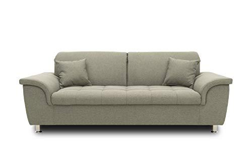 DOMO. collection Franzi Sofa, Sitzer Couch, 2,5er Garnitur mit Nackenfunktion, Polstergarnitur, grau-braun, 210x105x81 cm