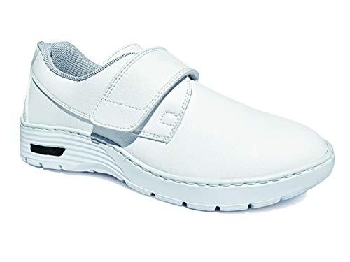 Gima - Rutschfeste, antistatische, wasserdichte und leichtgewichtige HF200 professionelle Unisex-Sneakers aus atmungsaktivem Mikrofaser-Gewebe, mit Klettverschluss, Weiße...
