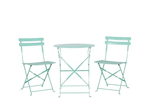 Outdoor Patio 3 Piece Bistro Set Mint Green Steel Round Table and Chairs Fiori