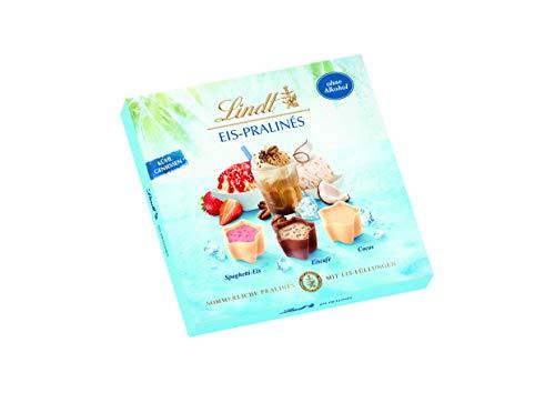 Lindt & Sprüngli ohne Alkohol, sommerliche Pralinés mit Eis-Füllung in den drei Sorten Spaghetti Eis, Eiscafé und Cocos, 148 g