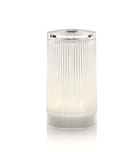 Imagilights Plisée Glitter LED Tischlampe, 24 Farben mit Farbwechsel, Kerzenmodi, Höhe ca. 15 cm, Durchmesser ca. 8,3 cm, rund, kabellos, mit Akku, inklusive Ladegerät, wasserdicht, stoßfest