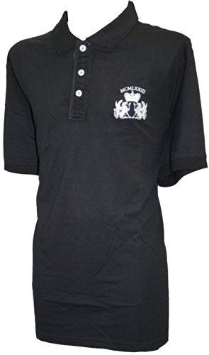 Espionage 100% Bouton Coton Col Bas Rugby Polo Top Noir 2XL