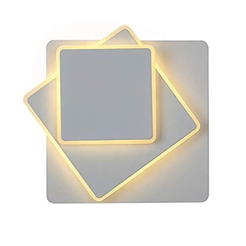 Asvert 15W Wandlampe innen led rund weiß 350 Grad Drehbare Wandleuchte modern elegant krektive Design 2 in 1 Modern LED innenlampe 3000K Warmweiß für Wohnzimmer(Quadratisch weiß-warmweiß)