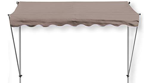 GRASEKAMP Qualität seit 1972 Klemmmarkise Ontario 255x130cm Taupe Balkonmarkise höhenverstellbar von 200 cm – 320 cm