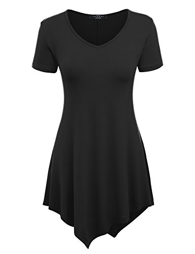 Made By Johnny MBJ WT638 Womens V Neck Asymmetrical Tunic Top XL Black