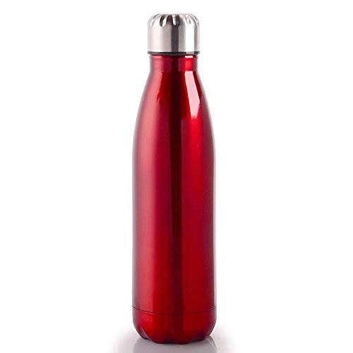 Detazhi Botella de Agua con Paredes con Paredes Doble aislada, Botella de Agua de Acero Inoxidable de Metal 500 ml BPA Gratis, a Prueba de Fugas Deportes FLA (Color : Red Water Bottles)