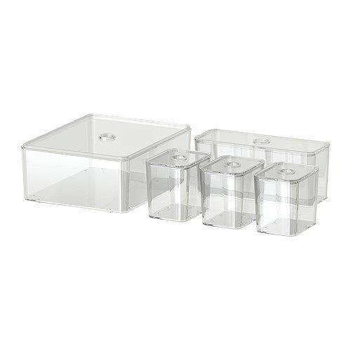 Ikea GODMORGON låda med lock set med 5 genomskinlig – 24 x 20 x 10 cm