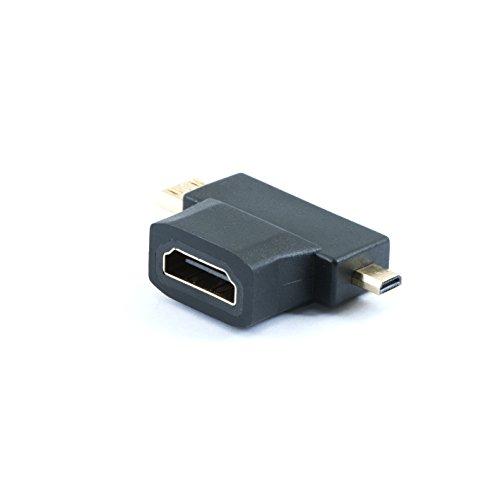 QUMOX Conector de Adaptador HDMI Hembra a Micro y Mini HDMI Macho
