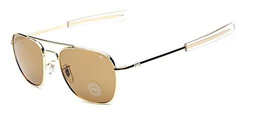 AOCCK Gafas de sol Pilot Sunglasses American Optical Glass Lens Sun Glasses Oculos De Sol Masculino brown and gold