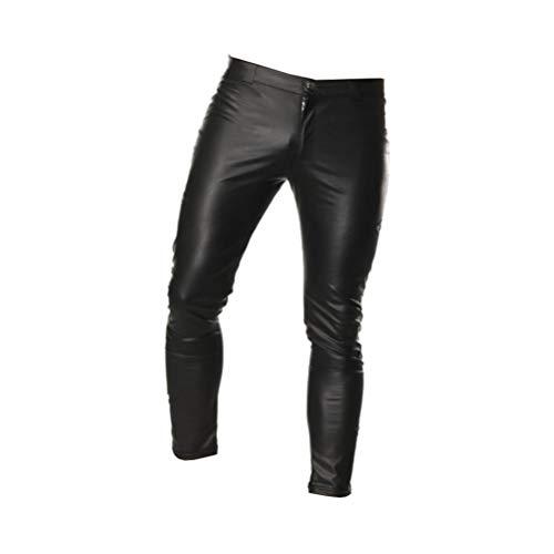 HEALLILY Herren Sexy Leder Leggings Nachtclub Reißverschluss PU Leder Hosen Kostüm Stretch Enge Mode Lange Hosen für Das Tägliche Leben Leistung Schwarz M